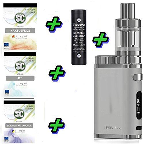 E-Zigarette SC by Eleaf Pico Silber iStick 75W Starterset 2600mAh | TC Temperaturregelung | mit SC Liquids - 00mg Rauchen ohne Nikotin