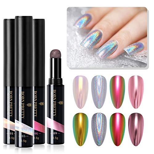 BORN PRETTY Holographic Cushion Nail Powder Pen 4 Colors Aurora Chameleonic Mirror Nail Powder Tool Nail Art Tool 0,5 g/caja