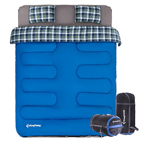 KingCamp Double Sleeping Bag, 2 Person Sleeping Bag for Hiking, Backpacking, Camping, Oversized Sleeping Bag