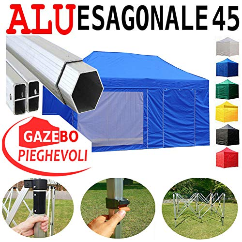 Gazebo Blu 6X3 Pieghevole Alluminio A Forbice Ombrello Professionale Mercati Piantone Esagonale 45Mm Stand Tendone Mercato MadeluX