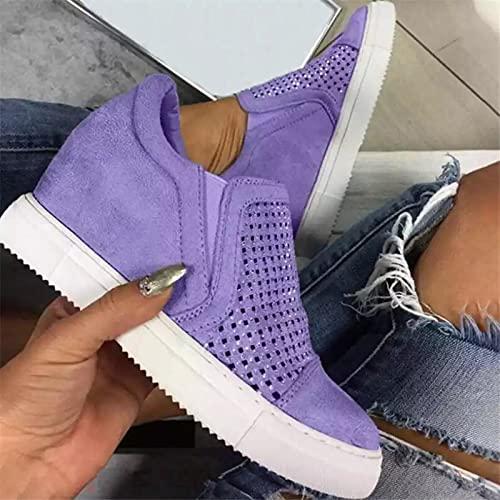 Hwcpadkj Zapatillas de Deporte Cuña para Mujer Alta Talón Plataforma Sneakers Zapatos de Lona Planos Lok Fu con Cabeza de Cristal levantada en pequeños Agujeros,Púrpura,39