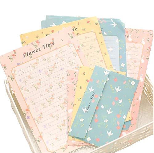 4 sobres de colores surtidos con estampado de flores y papel de carta, diseño clásico, sobres de invitación para amante de la letra para escritura de cartas
