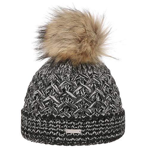 Seeberger Multimelange Wool Bommelmütze Pudelmütze Wintermütze Beanie Damenmütze Strickmütze (One Size - anthrazit)