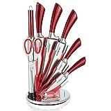 KAMBERG 8132 - Ceppo coltelli in acciaio inossidabile, con supporto in acrilico, colore: Rosso