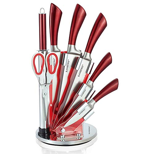 Kamberg 8132 Messerblock, 8-teilig, Edelstahl, Acrylständer, Küchenmesser, Rot