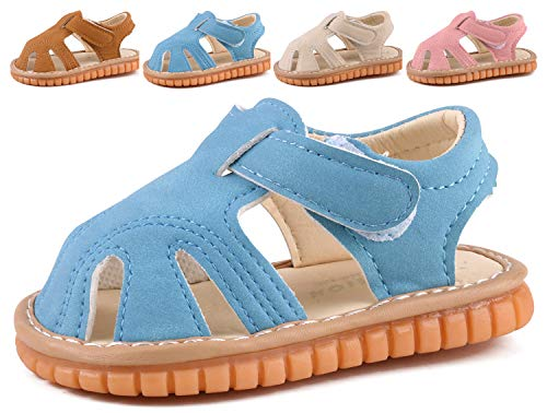 Boys Girls Summer Squeaky Sandals Closed-Toe Anti-Slip Premium Rubber Sole Toddler First Walkers Shoes Blue 1301-BU15(Foot length 11cm/4.33in)