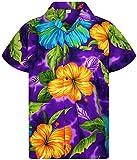 V.H.O. Funky Camisa Hawaiana, BigFlower, Purple, XXL