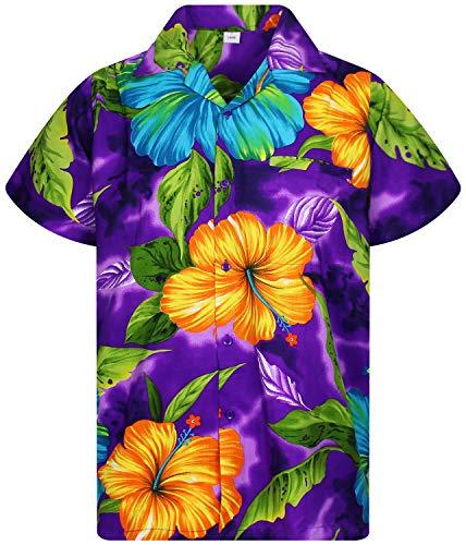 V.H.O. Funky Camisa Hawaiana, BigFlower, Purple, M