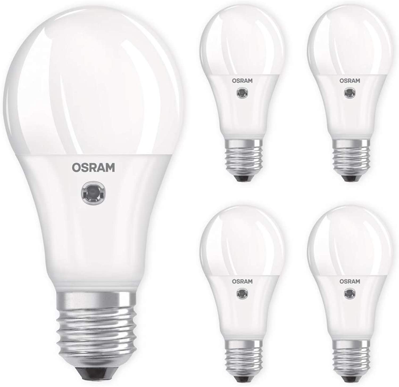 OSRAM LED Sensor Lampe E27 11W 75W 1060lm 2700K warmwei Lichtsensor Auswahl 5er Set