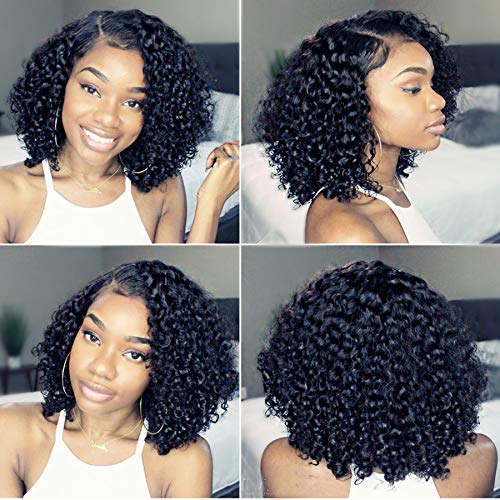 Newa Hair 13x6 Lace Front Human Hair Wigs Pre Plucked Short Lace Frontal Wig with Baby Hair Curly Human Virgin Hair Wigs for Black Women (10 inch, 130% density)