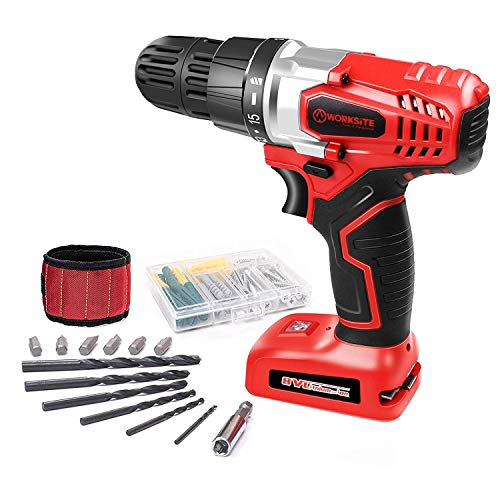 WORKSITE 8V Electric Cordless Drill Screwdriver with 1300mA LithiumIon Battery 16 Position Keyless Clutch Variable Speed Switch Lightweight BuiltIn LED Light 13 Pcs Bits Set Magnet Wristband