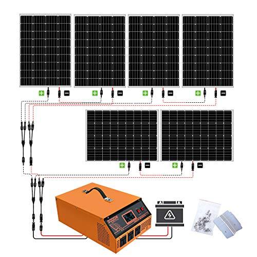 ECO-WORTHY 720W 24V Off Grid Solar Panel Kit: 6 PCS 120W Mono Solarpanel + 3000W 24V-220V reiner Sinus Wechselrichter with 30A Ladegerät Controller USV All-In-One-Einheit für den Haushalt