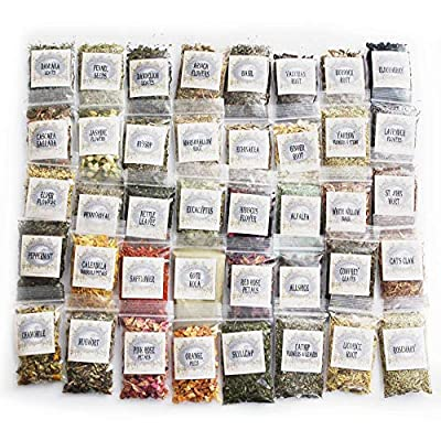 Witchcraft Herbs Kit | 40 Herbs for Witchcraft | Hoodoo Herb and Root Magic | Witch Herbs | Rituals | Wiccan Herbs | Dried Herbs and Flowers for Spells | Spell Kit Supplies Set | Herb Sampler Kit