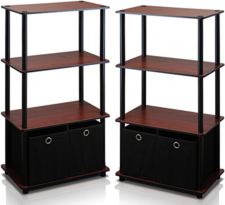 Furinno 2-NW889DC Go Green 4-Tier Multipurpose Storage Shelf with Bins, Set of 2, Dark Cherry