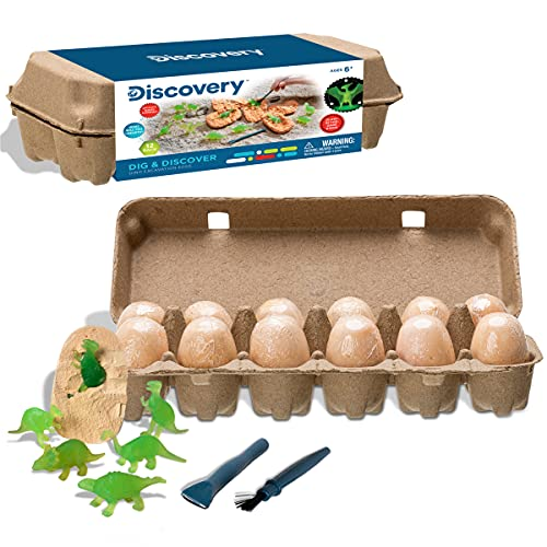 Discovery Kids Dig and Discover Dino Excavation Eggs, 12 Pack Mystery Set, Includes Chisel Brush and Classification Guide, STEM Learning Activity Set