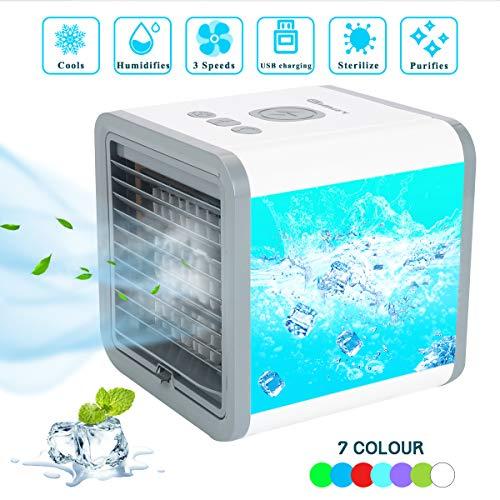 Fy-Light Climatizzatore Portatile Mini Raffreddatore d Aria USB Personale Air Cooler, 7 Color Evaporativo Umidificatore Purificatore, 3 velocità e Grande capacità di 300 ml per Casa Ufficio
