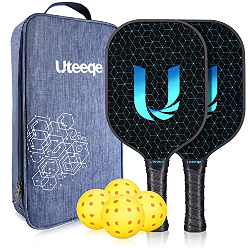 Uteeqe Pickleball Paddles Set USAPA Approved Lightweight Texture Graphite Surface Polymer Honeycomb Core Pickleball Racket Cushion Comfort Contour Grip Pickle Ball Racquet with Carrying Case & 4 Balls