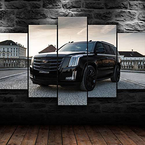 5 Piezas Impresión En Lienzo SUV Cadilac Escalade 2021 Cuadros Moderno Canvas De 5 Piezas Mural Decor Fotos Imagen Artística con Marco Fotografía para Oficina