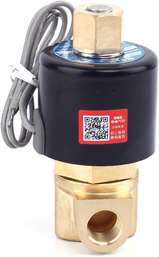 SNS 2WK025-N08//DC12V 1//4 NPT Brass Electric Solenoid Valve Normally Open Water,Air,Diesel