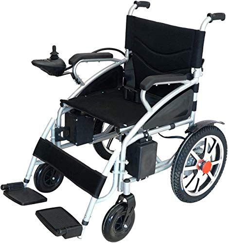 2021 Best Electric Wheelchairs Silla de Ruedas Electric para Adult Transport Friendly Lightweight Folding Electric Wheelchair for Adults (Black-Black)