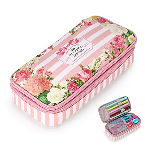 BTSKY Floral Pencil Case with Compartments -High Capacity Double Layers Pencil Pouch Stationery Organizer Multifunction Cosmetic Makeup Bag, Perfect Holder for Pencils and Pens (Pink)