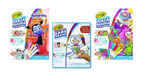 CRAYOLA COLOR WONDER - Set de álbum de colorear para niños: incluye álbum Vampirina, álbum Unicreatures, álbum blanco 30 hojas, 10 rotuladores Color Wonder