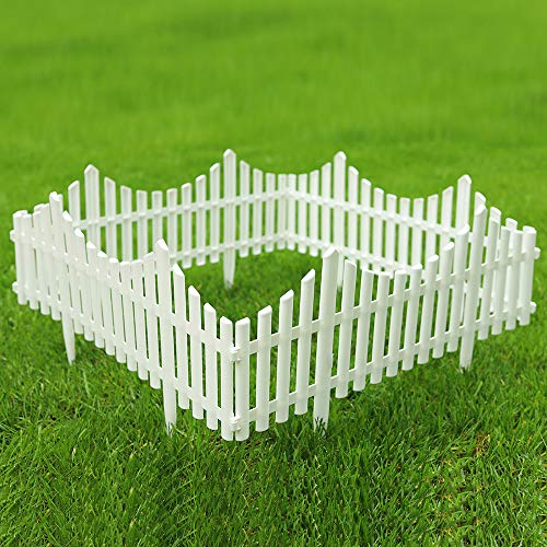 Sungmor Pack of 4 Garden Picket Fence,96 Inch Plastic White Edgings,Grass Lawn Flowerbeds Plant Borders,Landscape Path Panels