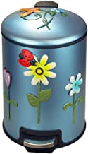 Recycling Bin Round Small Metal Step Trash Can Wastebasket for Bathroom Bedroom Kitchen Office Trash Bin Garbage Container...