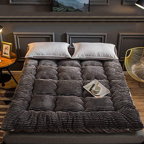 TopJiä dikker koraal futon matras, Japanse Tatami vloer matras, zacht matras topper voor thuis slaapzaal winter 150x200cm(59x78.7inch) DARK GRIJS