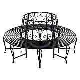 [en.casa] Panca Circolare da Giardino, Seduta Rotonda per Albero, Panchina in Acciaio (ØxA) 160cm x 84cm Struttura Decorativa - Nero