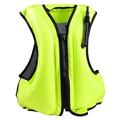 Faxpot Inflatable Life Jacket Adult Swimming Vest for Snorkeling Suitable for 80-220 lbs (Green)