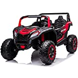 sopbost 24V 2 Seater EVA Tires 4x4 Kids Electric Car Ride-on UTV Buggy with Remote Control for 6+ Years Boys Girls Vehicle Toys 4WD Off-Road Ride on Truck 2 Big Shock Absorber, Red