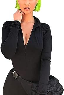 Velius Women's Sexy Turtleneck Long Sleeve Front Zipper Bodycon Party Dress