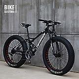 GAYBJ Bicicletas 24/26 Pulgadas MTB Top, La Grasa Bicicleta/Bicicleta de montaña de neumáticos de Grasa, Crucero de la Playa Fat Tire Bike Moto de Nieve Big Fat Tire Bicicletas,Negro,26 Inch 27 Speed