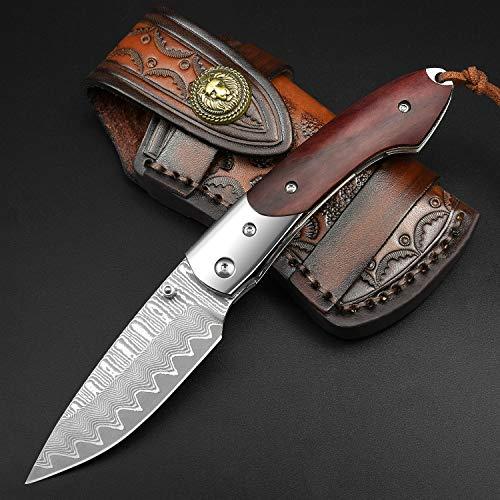 NedFoss Taschenmesser aus Damast Stahl- Damast Klappmesser scharfes Einhandmesser, Exquisit und Hochwertig