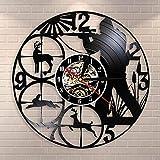 BFMBCHDJ Faune des Bois Chasse Animaux Homme Grotte décoration Murale Horloge Murale Club de Chasse Disque Vinyle Horloge Murale tir Cible Chasseurs Cadeau