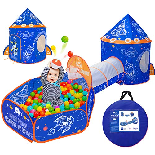 MINIWHALE 3pc Kids Play Tent,Tunnel & Ball Pit Basketball,Rocket Ship Astronaut,for Indoor Outdoor Camping (Blue)