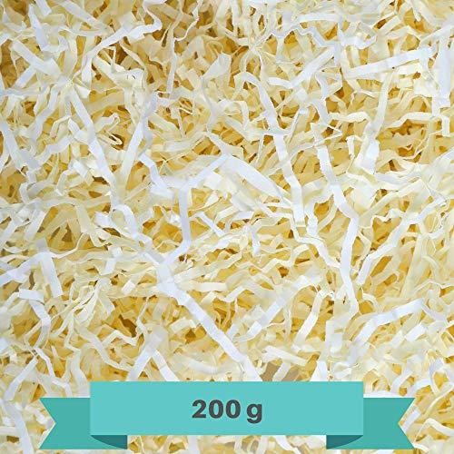 Creative Deco 200g Creme-Gelb Füllmaterial aus Papier | Papier-Schnitzel | Deko-Stroh für Zuhause | Verpackungs-Material für Weihnachts-Geschenke und Geschenk-körbe