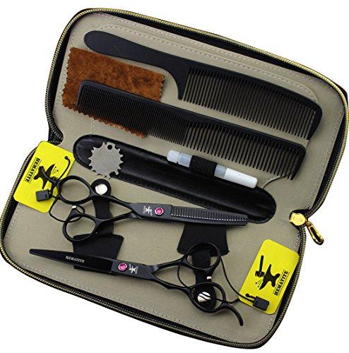Juego de tijeras de peluquería para zurdos, color negro,6 pulgadas