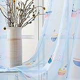 Topfinel Transparente Vorhänge mit Ösen Boot/Schiff Mustern Kurze Gardine für Kinderzimmer Fenster Wohnzimmer 2er Set 160x140cm (HxB) Baum - 9