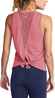 Mippo Women's Cute Yoga Workout Mesh Shirts Activewear Sexy Open Back Sports Tank Tops
