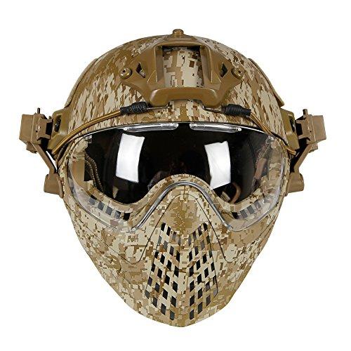 Kayheng Casco de protección Militar Totalmente Cubierto Airsoft Paintball Casco y máscara Gafas Protectoras Casco táctico de Seguridad