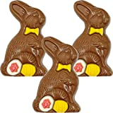 Chocolate Easter Bunny Holiday Treats, Decorated Solid Smooth Milk Chocolate, Party Bag Fillers, Individually Boxed, Kosher Certified Dairy, 1oz Chocolate Bar (Milk Chocolate Bunny, 3-Pack) from Fruidles