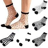 Sheer Mesh Transparent Socks Women - Lace Ultrathin Fishnet See Through Ankle Sock Mesh Black