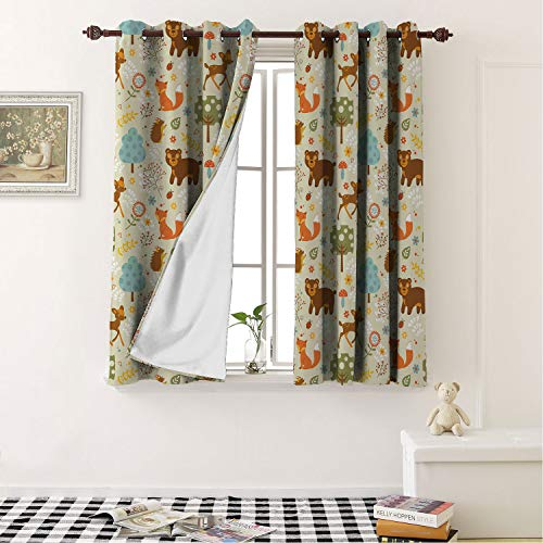Mozenou Energy Saving Thermal Insulated Blackout Curtains Woodland Animals of The Woods in Pastel Colors Cheerful Bear Hedgehog Gazelle Fox Ladybug Multicolor Noise Reducing- 63 by 63 in