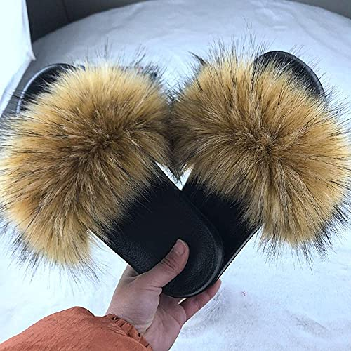 Classic Flip Flop Imitation Fox Wool Slippers Ladies Fur Slippers-Natural Color_7.5-8.5 Slide Open Toe Sandals