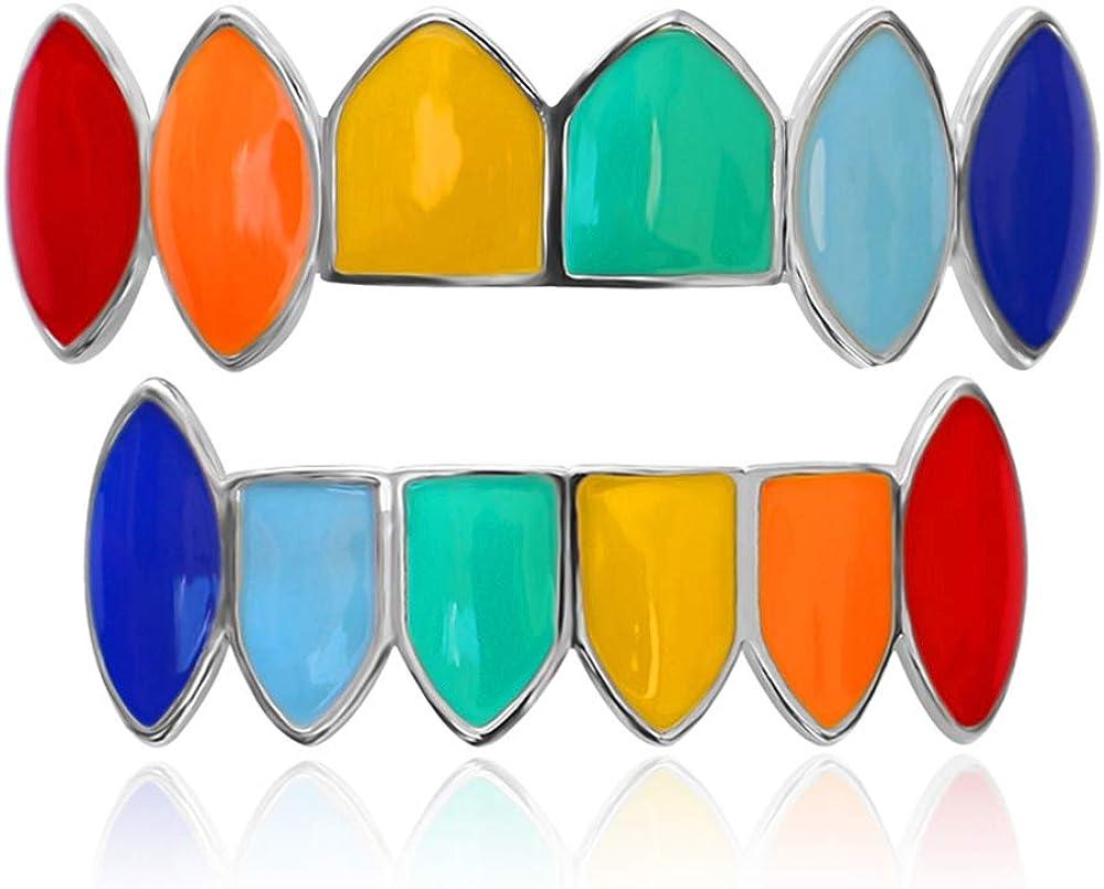 LuReen 14k Gold Rainbow Grillz Vampire Fangs 6 Teeth Top Bottom Set Grills + Extra 2 Molding Bars