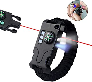 VISUAL KEI Paracord Bracelet Survival Rechargeable Survival Wirst with LED Flashlight,Compass,Emergency Loud Whistle,Laser Infrared Bracelet for Hiking, Camping, Fishing,Climbing