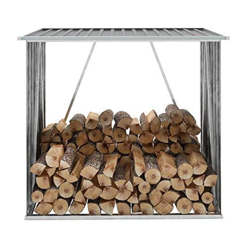 WENXIA Firewood rack, Firewood storage stacking aid outside, Garden Storage Log Storage Shed Galvanised Steel 163 x 83 x 154 cm Grey