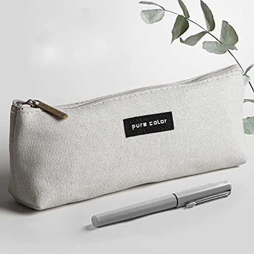 MRBJC Estuche de lápiz, lienzo de color sólido para papelería escolar, estuche portátil para plumas estilográficas, lápiz capacitivo, puede ser regalos gris 21,5 x 4,5 x 8 cm